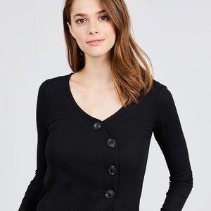 Tops - Long Sleeve V-neck Cross Wrap W/button Detail Rib